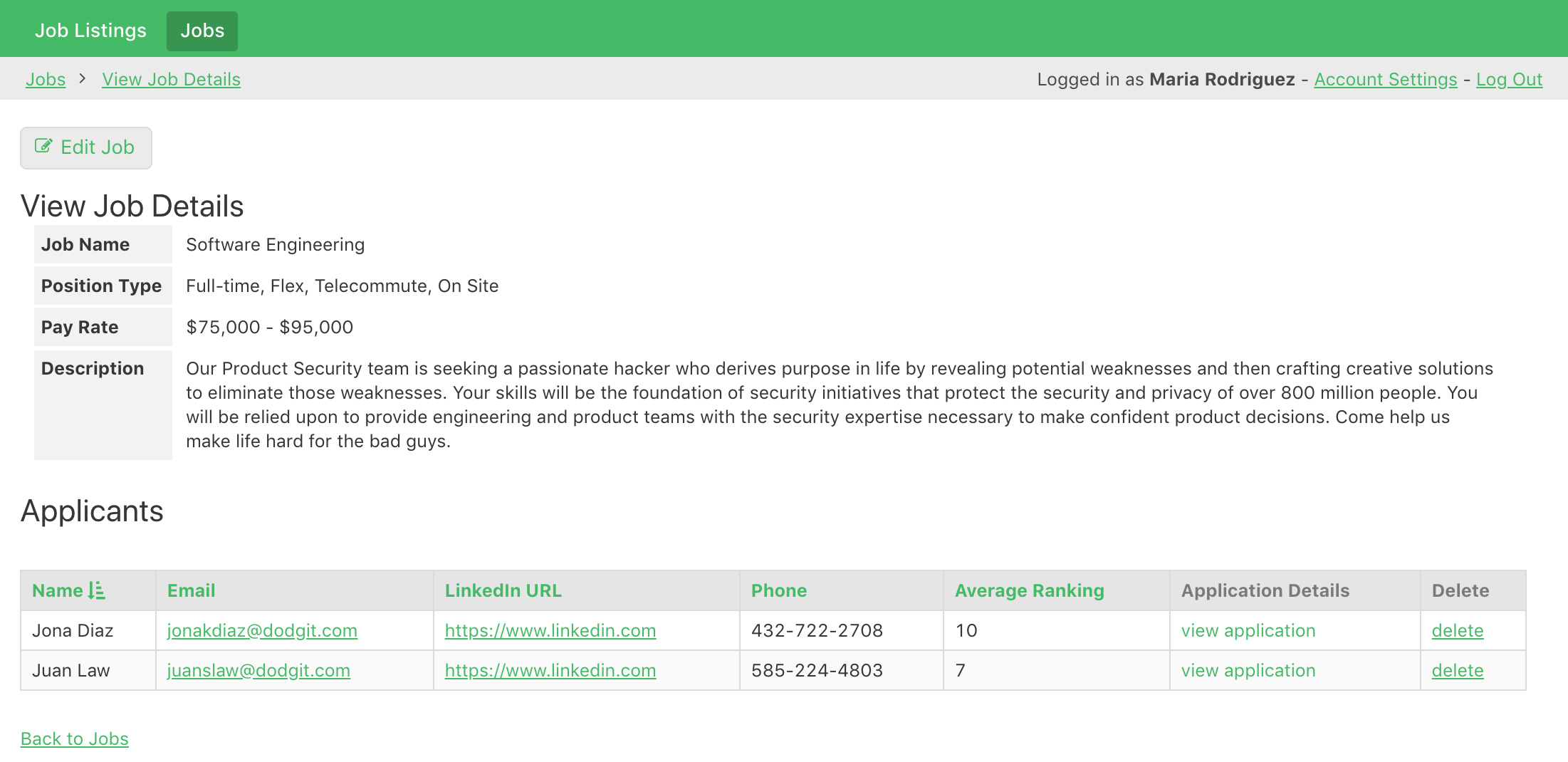 HR staff can view job listing details and applications.